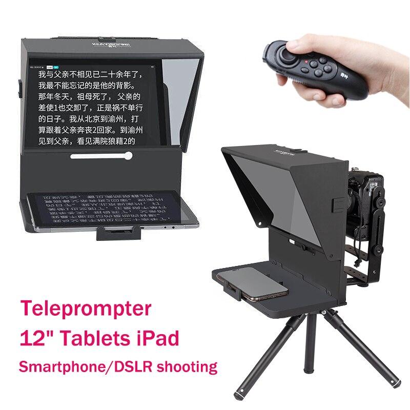 Q2 Teleprompter for iPad Tablet Phones Prompting Inscriber Interview Speech Prompter Reader for Smartphone DSLR Recording